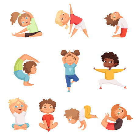 Illustration for Yoga kids characters. Fitness sport childrens posing and making gymnastics yoga exercises vector illustrations. Sport yoga child, health and meditation boy and girl - Royalty Free Image