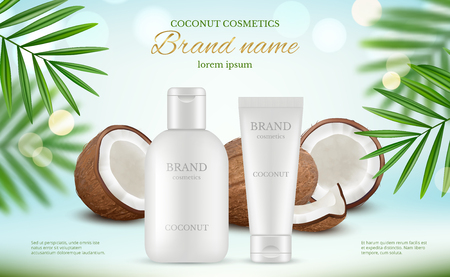 Illustration pour Coconut cosmetic. Advertizing poster with cream tubes and fresh coco and natural body milk splashes vector realistic. Illustration of lotion plant coconut, care spa cream - image libre de droit
