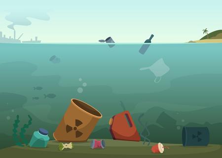 Illustration for Water waste. Nature pollution plastic bottles in ocean debris dirty animals trash save nature vector concept background. Rubbish and waste in ocean, sea trash plastic, pollution in marine illustration - Royalty Free Image