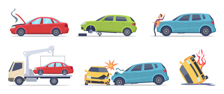 Illustration pour Car accident. Damaged transport on the road repair service insurances vehicle vector illustrations in cartoon style. Accident crash car, emergency broken and insurance auto - image libre de droit