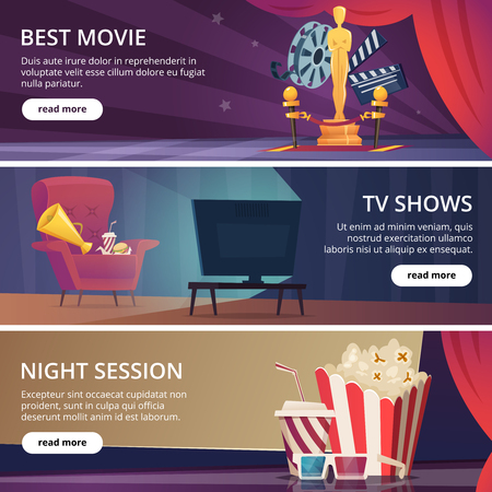 Illustration pour Cinema banners. Movie video and theater entertainment cartoon icons 3d glasses popcorn clapper megaphone vector design template. Best movie and television show, night session cinema illustration - image libre de droit