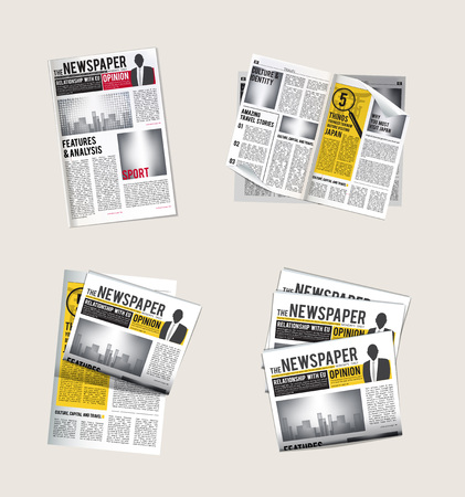 Illustration for Newspapers icons. Journalist collection of reading daily news with headlines tabloid vector symbols of newspaper. Pile and stack news with headline illustration - Royalty Free Image