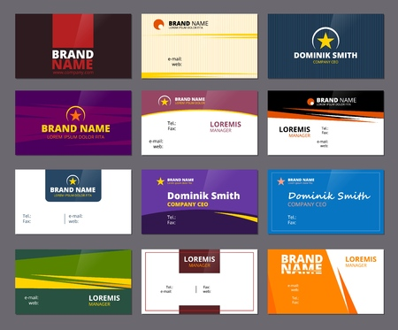 Illustration for Business visit cards. Colored office corporate or personal id cards with place for text vector creative design project. Illustration of office card identity name, contact email address - Royalty Free Image