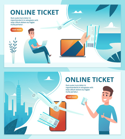 Ilustración de Air ticket online. Order avia tickets using mobile smartphone vector landing page web template. Airplane service, avia tourism illustration - Imagen libre de derechos