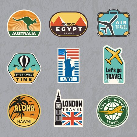 Illustration pour Travel vintage sticker. Summer vacation labels for old luggage tropical travel vector logo collection. Illustration of travel label for luggage, sticker tag - image libre de droit