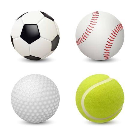 Illustration pour Sport balls. Baseball football tennis golf vector realistic sport equipment. Illustration of golf ball and football, tennis and soccer - image libre de droit