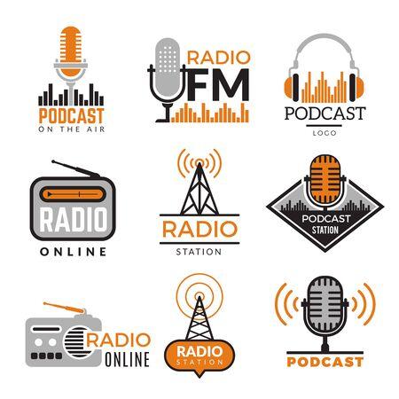 Illustration pour Radio logo. Podcast towers wireless badges radio station symbols vector collection. Illustration wireless radio station emblem - image libre de droit