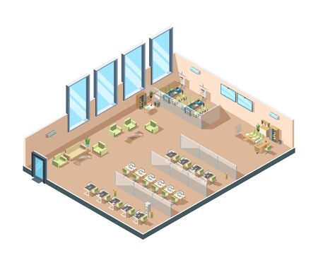 Illustration pour Isometric office. Big corporate open working area building interior cabinets with tables chairs and equipment for managers vector. Business office workplace, illustration architecture area - image libre de droit