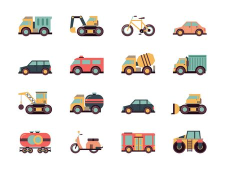 Illustration for Transport flat icon. Transportation symbols different automobiles public vehicle vector machines colored icon collection. Illustration automobile and machine, motor and bicycle, train and bulldozer - Royalty Free Image