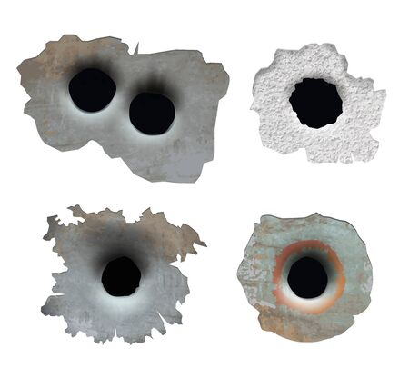 Bullet hole. Crush damaged crack glass from gun smashes pieces broken surface vector bullet lines. Illustration of crack from gun bullet, circular ragged