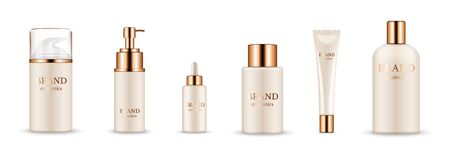 Illustration pour Cosmetic bottles. Realistic golden packaging for serum, cream, shampoo, balm. Vector cosmetic mockup isolated on white background. Illustration cosmetic product with golden caps - image libre de droit