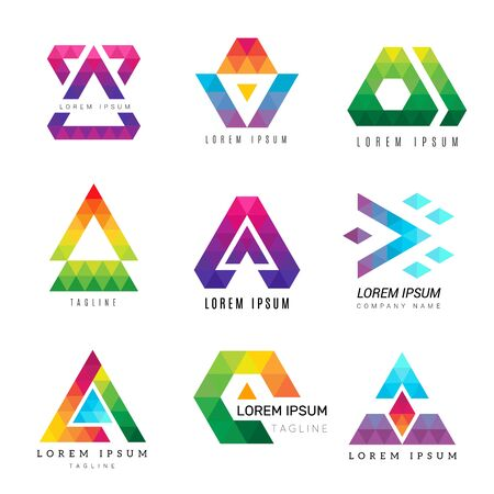 Illustration for Polygonal triangle logo. Business colored identity abstract symbols polygons ornamental vector graphic. Illustration modern business geometric polygon, logotype corporate - Royalty Free Image