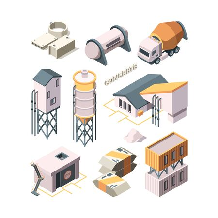 Illustration for Concrete production. Cement factory industry material technology concrete mixer transport tanks vector isometric. Industry cement building, production concrete - Royalty Free Image