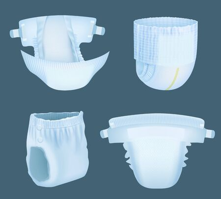 Illustration pour Diaper realistic. Baby comfortable white softly layered incontinence diapers for pee absorbent vector templates collection. Soft diaper comfortable, realistic absorbing and safety illustration - image libre de droit