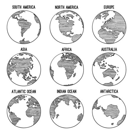 Illustration pour Earth globe doodle. Planet sketched map america india africa continents vector hand drawn illustrations. Globe world earth, america, africa, continent worldwide - image libre de droit