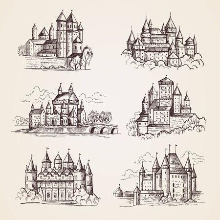 Illustration pour Castles medieval. Old tower buildings vintage architecture ancient gothic castles vector hand drawn illustrations. Town tower, sightseeing building, castle famous - image libre de droit