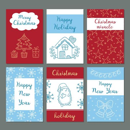 Illustration pour Christmas cards. Winter celebration greetings cards cute images snowflakes characters santa gifts clothes vector doodles hipster style. Winter christmas card with gift and greeting illustration - image libre de droit