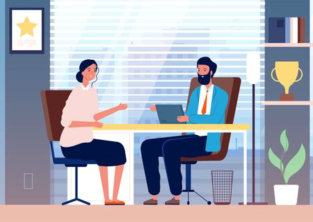 Illustration pour Woman interview. Female business girl employment recruiting in office boss sitting vector character. Illustration boss in office and employee female - image libre de droit