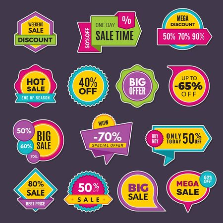 Illustration pour Promo stickers. Discount badges or labels price tags sales announce vector collection. Discount offer sticker, promo price announcement illustration - image libre de droit