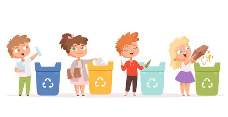 Illustration pour Kids recycling garbage. Saving nature ecology safe environment protection healthy recycling processes vector cartoon characters. Garbage recycle bin, waste recycling illustration - image libre de droit