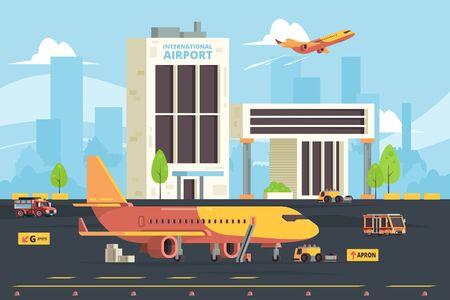 Foto für Cargo plane on runway. Warehouse aircraft preparation hangar airport freight aircraft vector flat background. Illustration cargo aircraft, runway airplane - Lizenzfreies Bild