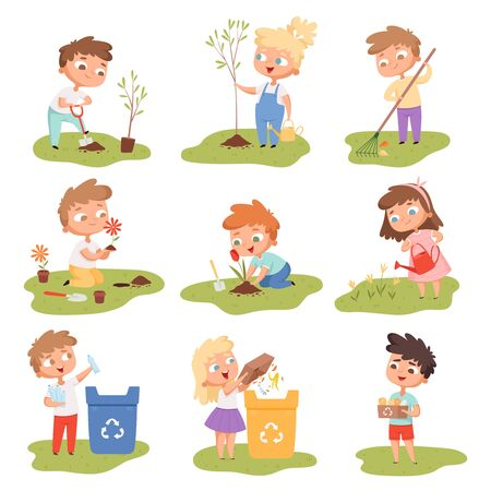 Illustration for Kids planting. Happy children gardening digging picking plants eco weather protect tree vector set. Gardening illustration of kids with shovel watering and planting - Royalty Free Image