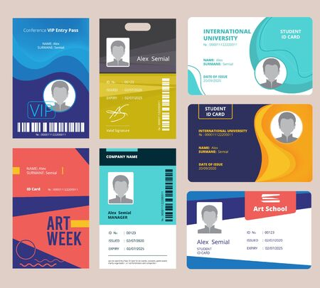 Illustration pour Id card template. Identification badge for male or female with name and signature vector design layout. Illustration identification id badge, plastic card identity - image libre de droit