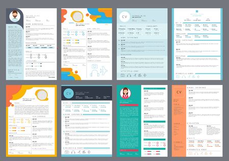 Illustration pour Resume design. Corporate business profile cv for printing vector curriculum page. Cv document, personal employment, page hiring illustration - image libre de droit