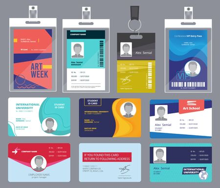 Illustration for Personal card id. Male or female passport or badges personal office manager business tags vector design template. Personal identity for security, id personalize illustration - Royalty Free Image