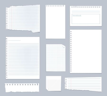 Illustration for Note papers. Lined notes set stripe sheets vector notebook template. Illustration notebook paper sheet, striped page for note - Royalty Free Image