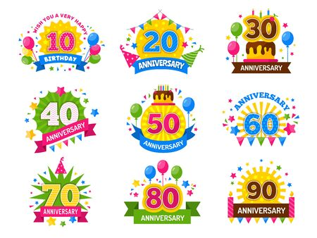 Illustration for Anniversary numbers. Celebration party year celebrated number flyer for happiness cheers vector set. Happy celebration cheerful, party, anniversary badge and congratulation event illustration - Royalty Free Image
