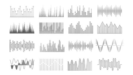 Illustration for Music waves. Audio recorder, equalizer or pulse technology elements. Sound player panel, voice signal vector set. Sound frequency, radio equalizer beat illustration - Royalty Free Image