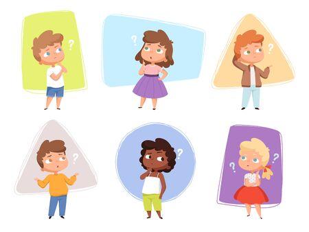 Illustration pour Thinking kids. Children asking question expression and question marks teens vector characters. Kids asking question, expression confuse, puzzled and confused children illustration - image libre de droit