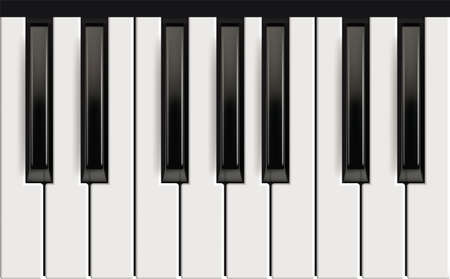 Illustration pour Piano keys. Realistic musical instrument for jazz band white and black keys with reflection effects vector picture. Piano octave, acoustic instrument, keyboard black white classic illustration - image libre de droit