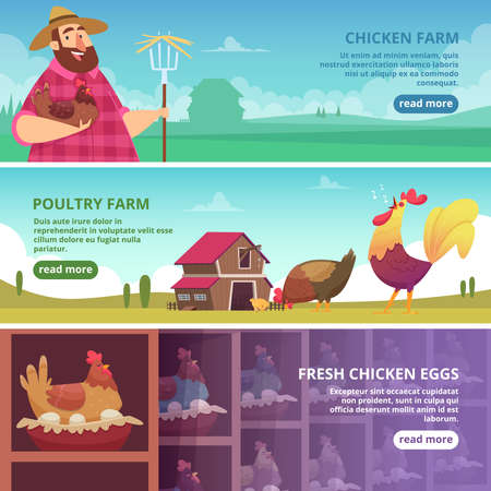 Illustration pour Chicken farm banners. Farmer breeding eco domestic birds fresh eggs roosters and hens vector design template. Chicken farm, rooster animal and hen on countryside illustration - image libre de droit