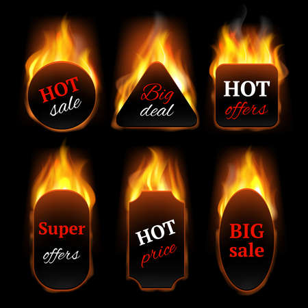 Illustration pour Hot special offers. Promo banners with fire flame vector realistic templates. Illustration hot offer and fire sale, flame discount, advertising clearance black promo sale - image libre de droit