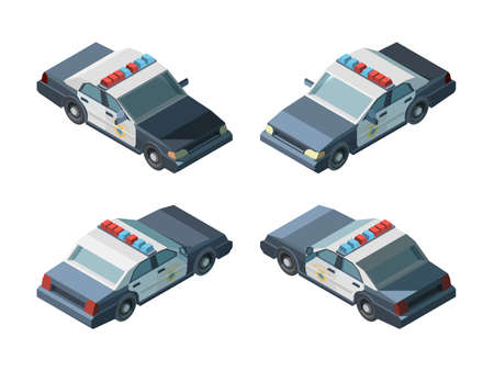 Photo pour Police car. Emergency isometric vehicles different views police chase vector. Transport emergency police car, vehicle isometric and 3d automobile illustration - image libre de droit