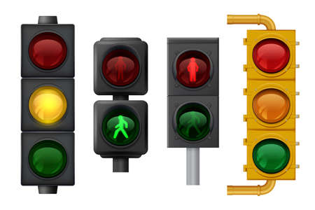 Illustration for Traffic lights realistic. Urban light objects on road vector signs for transport. Traffic stoplight for safety trasportation on road illustration - Royalty Free Image