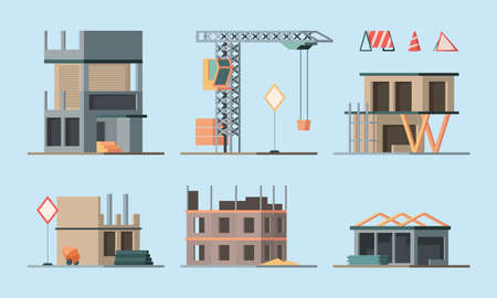 Illustration for Construction stages. Building houses foundation workers making brick walls little houses and big skyscraper garish vector flat ortogonal colored illustrations collection - Royalty Free Image