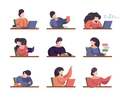 Illustration pour Lazy students. People in lecture room with laptop college persons studying sitting listening talking sleeping in university garish vector illustrations - image libre de droit