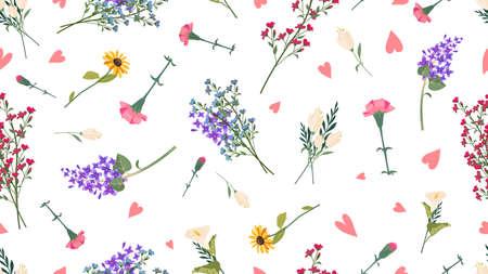 Illustration pour Wild flowers pattern. Spring summer print, love romantic floral vector seamless texture - image libre de droit