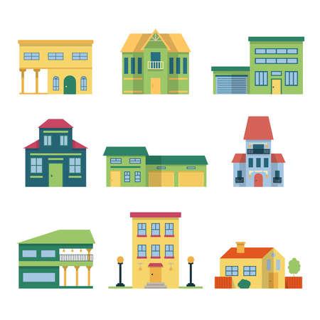 Photo pour Modern houses with garden and garage. Vector architecture illustrations front view - image libre de droit