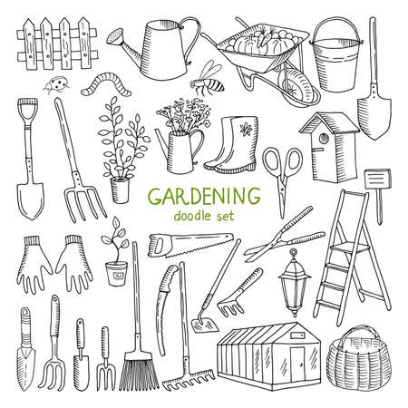 Illustration for Vector hand drawn illustrations of gardening. Different doodle elements set for garden work - Royalty Free Image