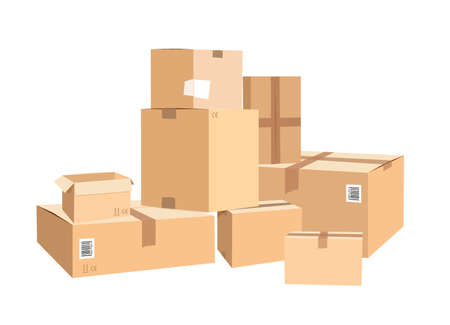 Illustration pour Cardboard boxes in different sizes. Packages isolated on white - image libre de droit
