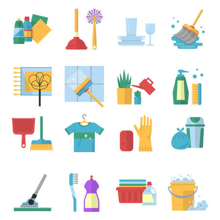 Illustration for Vector symbols of cleaning services in cartoon style. Brush, dust and bucket - Royalty Free Image