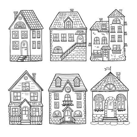 Illustration for Cute little houses and different roofs. Doodle vector illustration of home - Royalty Free Image