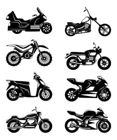 Illustration pour Silhouette of motorcycles. Vector monochrome illustrations set - image libre de droit