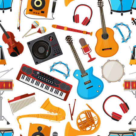 Illustration pour Speakers, amplifier, synthesizer and other music instruments and accessories. Vector seamless pattern - image libre de droit
