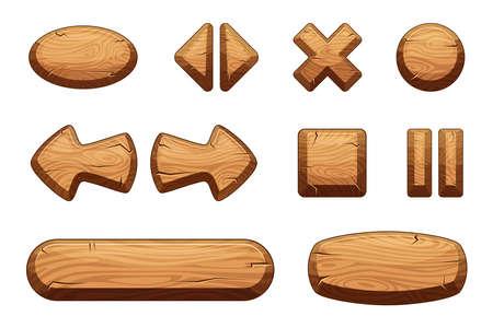 Illustration pour Wooden buttons set for game ui. Vector cartoon illustrations - image libre de droit