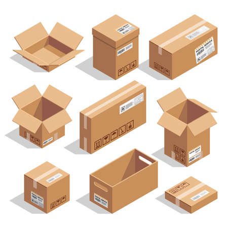 Illustration pour Opening and closed cardboard boxes. Isometric illustration set - image libre de droit